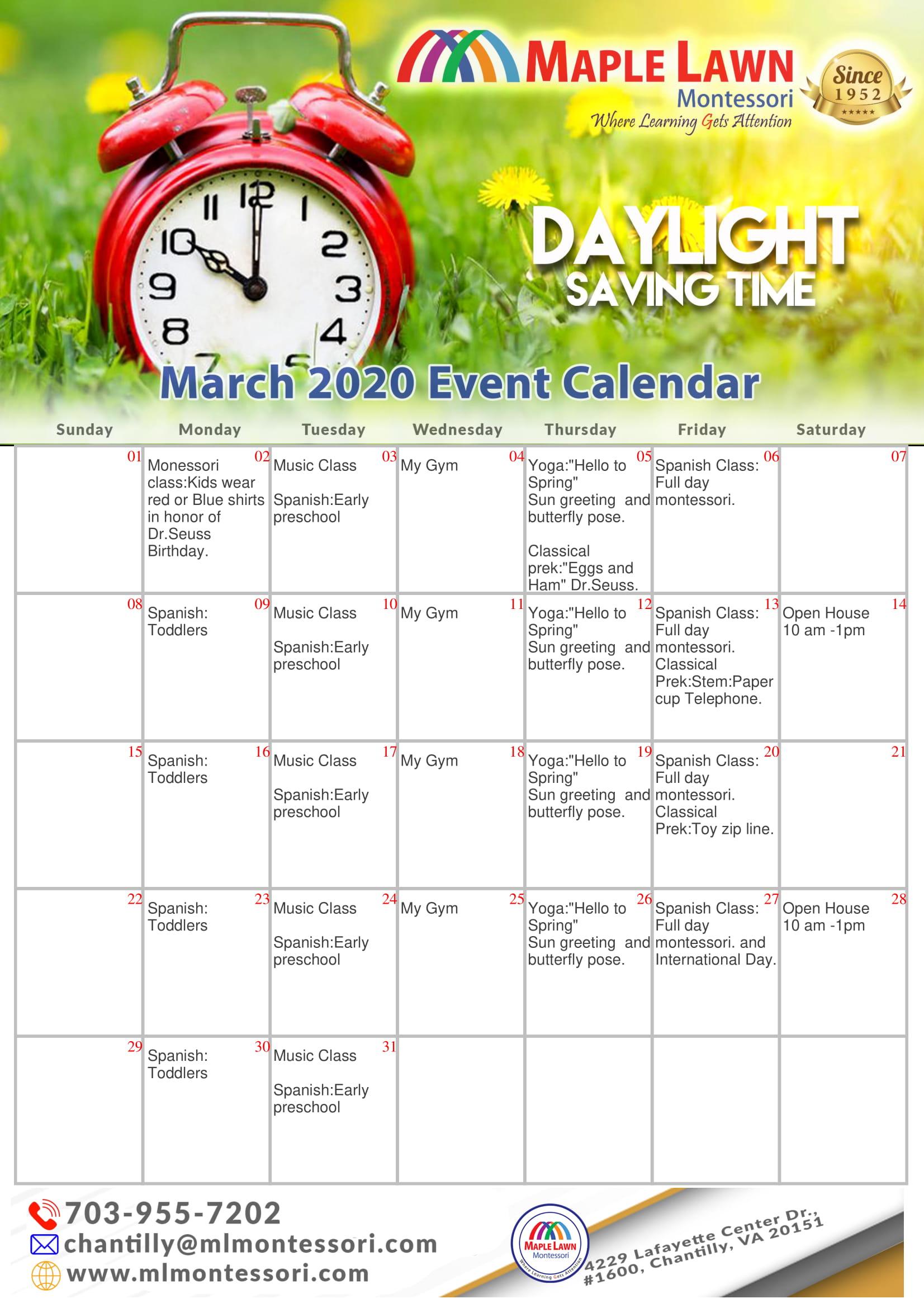 MLM calendar for March 2020